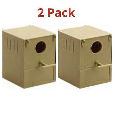 £11.95 • Buy 2 X Budgie Nest Boxes Plastic With Perch & Hooks To Front & Rear Aviary / Cages
