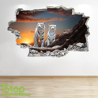 £15.99 • Buy White Tiger Wall Sticker 3d Look - Bedroom Lounge Nature Animal Wall Decal Z189