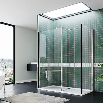 Wet Room Walk In Shower Enclosure And Tray Glass Screen Cubicle Flipper Panel • 111.99£