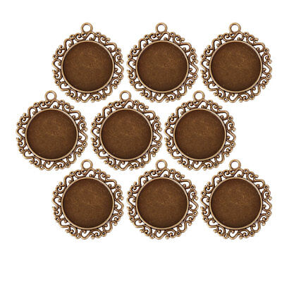 10 Round Vintage Cameo Frame Setting Pendants For Cabochons Bronze Tone 26mm • 4.06£