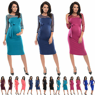 £12.99 • Buy Purpless Maternity Ruched Bodycon Pregnancy Dress With With Polka Dot Lace D008