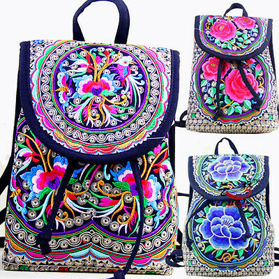 Quaint Women Ethnic/Oriental/Chinese Embroidery Backpack Rucksack Travelling Bag • 12.99£