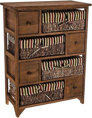 Wicker Basket Cabinet Wood Maize Bedside Table Drawer Bathroom Hallway Unit New • 99.95£