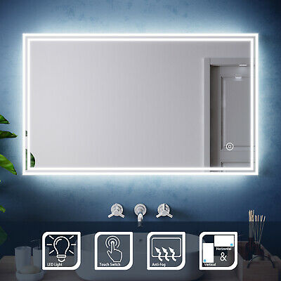 Illuminated LED Bathroom Mirror Touch/Infrared Sensor/Button Switch Wall Mounted • 57.99£