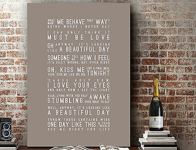£16.50 • Buy Elbow One Day Like This   Wall Art SONG LYRICS TYPOGRAPHY PRINT   CANVAS GIFT