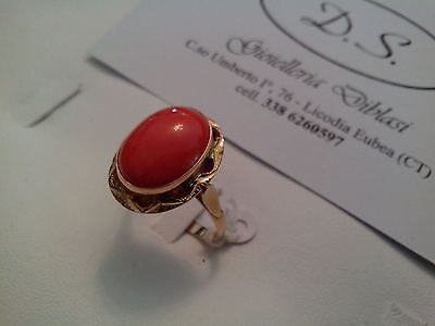Solid 18k Yellow Gold And Coral Ring Made In Italy • 289£