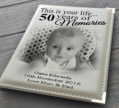 Guestbook Signing Book Personalised Photo Album 7x5  X 36 50th Birthday Present. • 17.99£