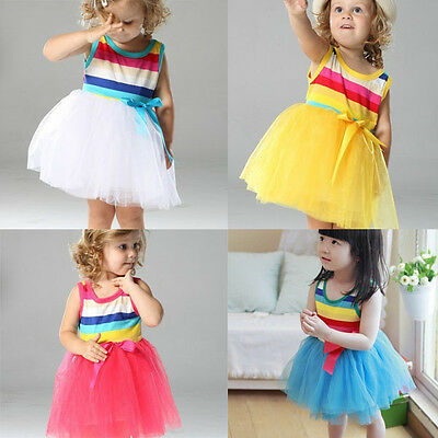 AU12.95 • Buy Girls Dress Rainbow Stripe Lace Tulle TuTu Party Birthday Cotton Size 1-7 Years