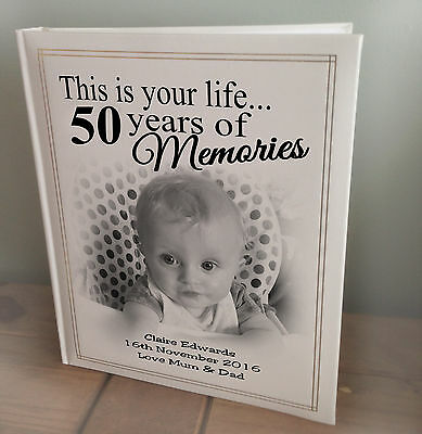 Personalised Large Luxury Photo Album, Memory Book, 50th Birthday Present • 35.99£