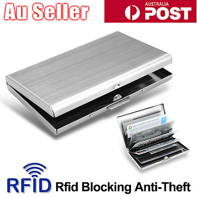 AU7.95 • Buy 6 Slot Stainless Steel Wallet RFID Blocking Identity Protection Card Holder Case