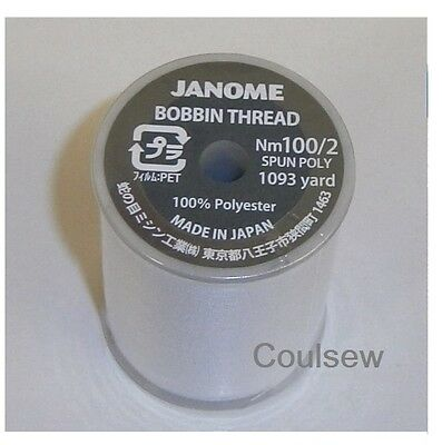JANOME SEWING MACHINE STANDARD BOBBIN THREAD 1000m WHITE Embroidery  • 9£