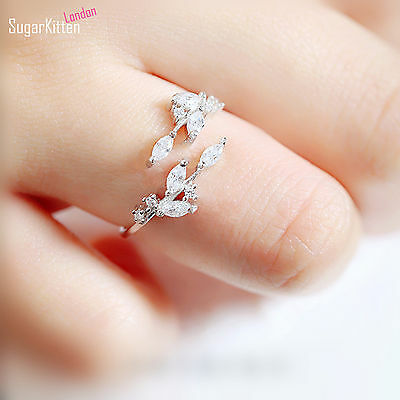 Sterling Silver Sparkling Crystal CZ Leaf Feather Bridal Party Ring • 7.85£