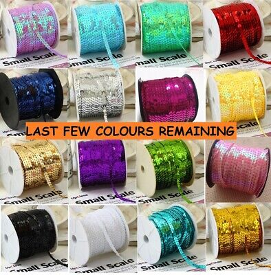 59 COLOURS 6mm Sequin Trim 5M 10M String Round Sequins Sewing Craft Dance 1113 • 2.89£