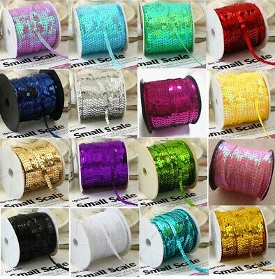 70 COLOURS 6mm Sequin Trim 5M 10M String Round Sequins Sewing Craft Dance 1113 • 1.89£