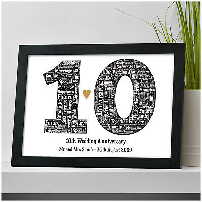 10th Wedding Anniversary PERSONALISED Mr & Mrs Print Gift 10 Years Married Gifts • 5.95£