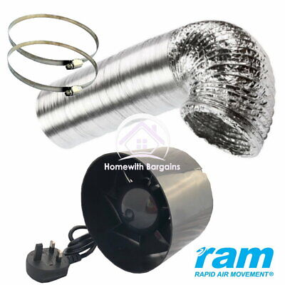 RAM Inline Exhaust Fan 4  6  Air Extractor Booster - Ducting & Hose Clips Option • 32.25£