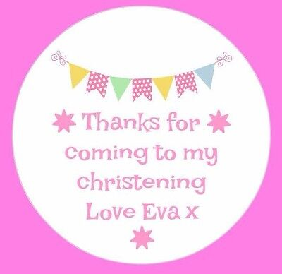 £1.75 • Buy Personalised Bunting Christening Stickers Thankyou Sweet Cones Bags Seals Labels