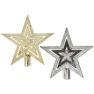 Shiny Embossed Star Christmas Tree Topper Decoration • 4.49£