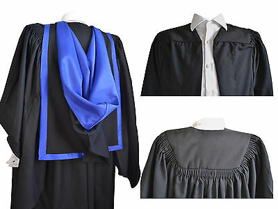 Graduation Gown And Full Hood Set University Bachelor Academic Fluted Robe • 44.99£