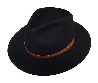 0734e6425875d Men s 100% Crushable Wool Felt Outback Leather Band Fedora Hats With Gift  Box • 39.99