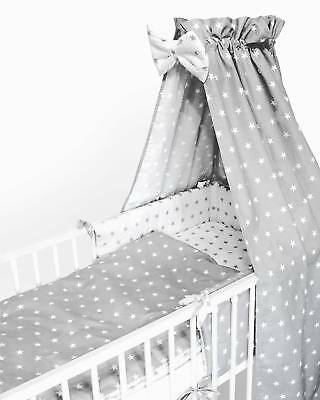 Nursery Baby Bedding Set 2-10 Pcs120x90-135x100-150x120 Stars White/Grey Curtain • 14.99£