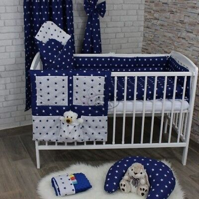 Nursery Baby Bedding Set 2-7 Pcs120x90-135x100-150x120 Stars White/Navy Curtains • 14.99£