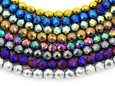$ CDN3.01 • Buy Natural Hematite Gemstone Faceted Round Beads Metallic Colors 15.5'' 4mm 6mm 8mm
