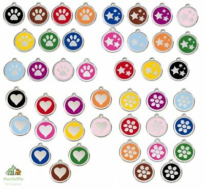 RED DINGO ENGRAVED DOG / CAT IDENTITY TAGS Personalised ID Heart Flower Star Paw • 9.90£