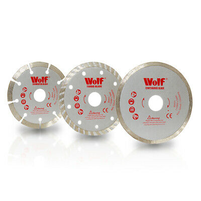 Wolf Pack 3 115mm 4.5  Angle Grinder Diamond Tipped Cutting Discs Blades • 14.99£