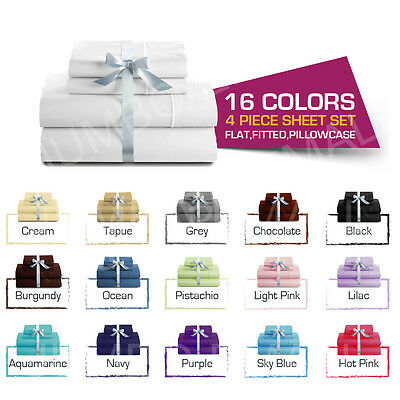AU34 • Buy Single/KS/Double/Queen/King 4 Piece Bed Soft Sheet Set,Flat,Fitted,Pillowcases