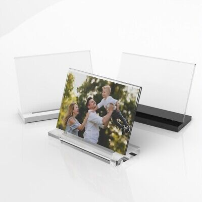 Modern Acrylic Photo Frame / Freestanding Polished Picture Frame 6x4 7x5 8x6 • 8.99£