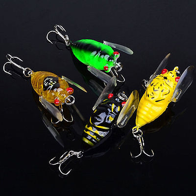 AU12.99 • Buy 4x Winged Cicada 40mm Fishing Lure Topwater Popper Freshwater Bream Bass Bream
