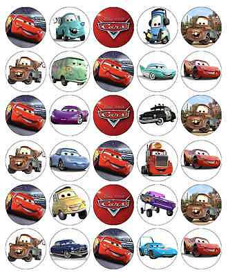 30x Cars Edible Cupcake Toppers Lightning Mcqueen Disney Wafer Fairy Cake Topper • 2.25£