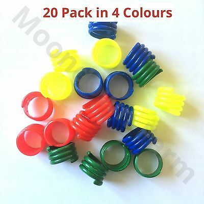 20 X 18mm In 4 COLOURS MIX SPIRAL LEG RINGS FOR POULTRY, CHICKEN, DUCKS, GEESE • 6.25£