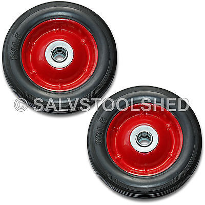 AU24.95 • Buy 2 × 6  Solid Rubber Wheel Jockey Trolley Wheels With 1/2  Bore Puncture Proof