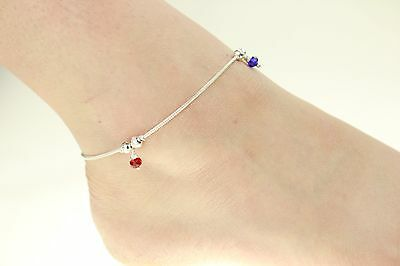 £4.99 • Buy Plain  Silver Coloured Chain Anklet Chain Payal Bollywood Single Or Pair