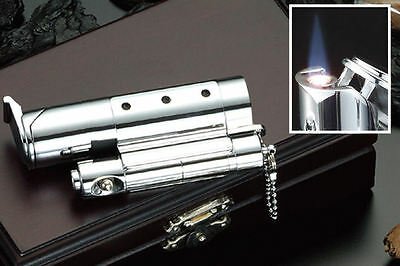 Turbo Flame Chrome Cigar Punch And Cigarette Lighter In Wooden Storage Box • 49.95£