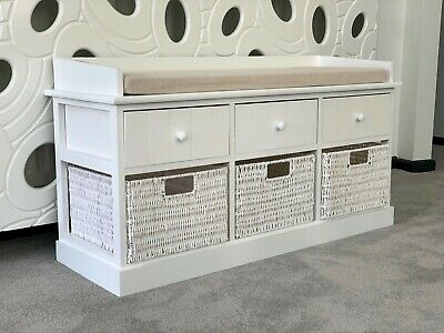 White Storage Bench Wicker Drawers Hallway Bedroom Two Seater Wood W/ Cushion  • 149.99£