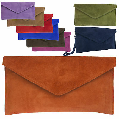 £13.99 • Buy Women's Genuine Italian  Suede Leather Envelope Rebecca Clutch Bag/  Prom Party