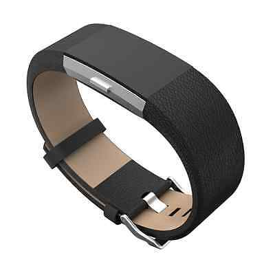 $ CDN13.04 • Buy Fitbit Charge 2 Accessory Band Leather Black Gray Color Metal Buckle