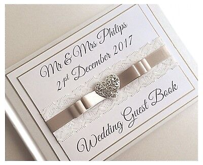Wedding Guest Book.Diamante Heart Any Colour! BOXED Personalised Diamante & Lace • 18.99£
