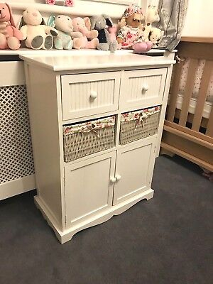 White Cupboard Wicker Chest Drawers Baskets Storage Pink Floral Girl's Bedroom • 99.95£