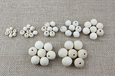 Various Sizes Of Plain Unfinished Wooden Beads - Craft, Jewellery Making 6-20mm • 1.99£