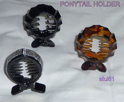 Black,brown,studded Round Ring Comb,cuff Ponytail Holder Hair Clip Accessories • 3.29£