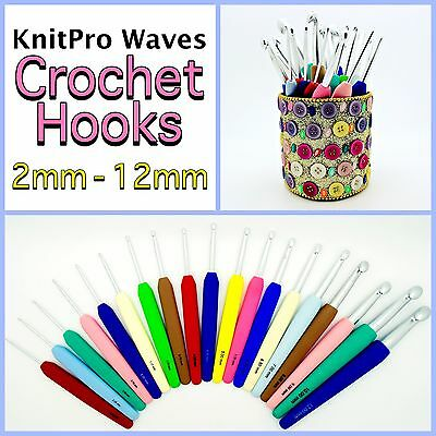 CROCHET HOOKS KnitPro Waves Aluminium With Soft Coloured Grip Handle 2mm-12mm • 3.75£
