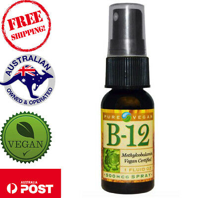 AU59.86 • Buy Pure Vegan B-12 Spray 500 Mcg 1 Fl Oz,pump Once Per Day Into Mouth And Swallow
