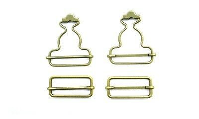 £3.29 • Buy 40mm X 50mm Brass Fasteners Bronze Buckles For Dungaree With Slider Denim Clip