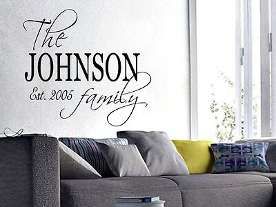 £15.27 • Buy FAMILY NAME EST. PERSONALIZED Wall Art Decal Quote Words Lettering Decor  40x23