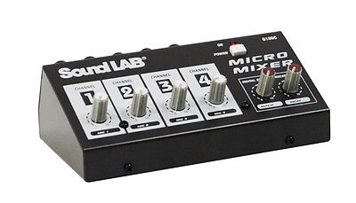 Soundlab Compact Portable 4 Channel Mono DJ Party Microphone Mixer With Effects • 22.95£