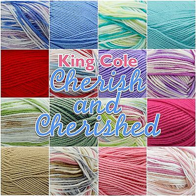 King Cole Cherish/ Cherished Soft Baby Double Knit Knitting Wool Yarn 100g Ball  • 3.80£